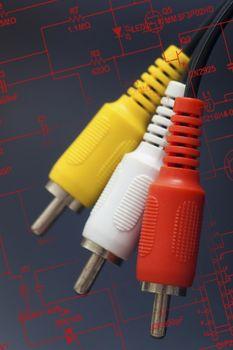 3 RCA plastic cable