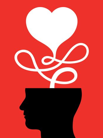 Conceptual illustration of a male head with a heart attached to a looped cord issuing forth from the top on a red background conceptual of love, passion, emotions and feelings or Valentines Day