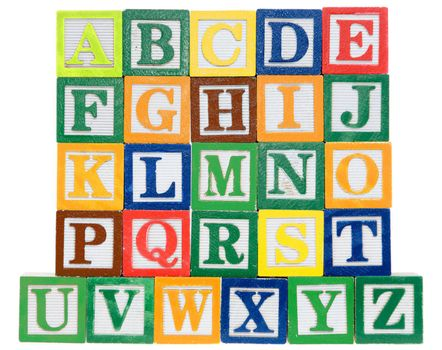 Letter blocks in alphabetical order. Isolated on a white background