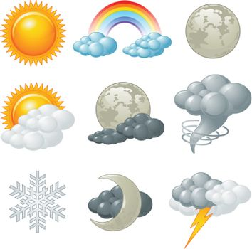 Nine weather related icons set