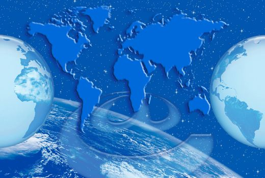 Communication and Internet networks in the world base map of the world and planet earth with digital system