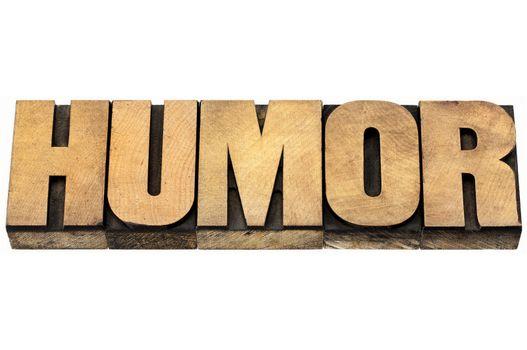 humor word in wood type