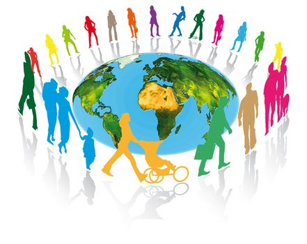 pedestrians, families, businessmen and women around the planet earth for better communication in the world