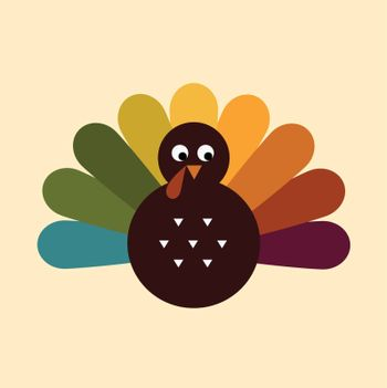 Colorful Thanksgiving Turkey. Vector cartoon Illustration
