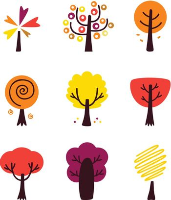 Autumn Tree collection. Vector Illustration