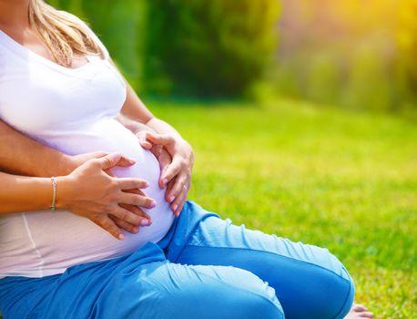 Happy parents expecting baby