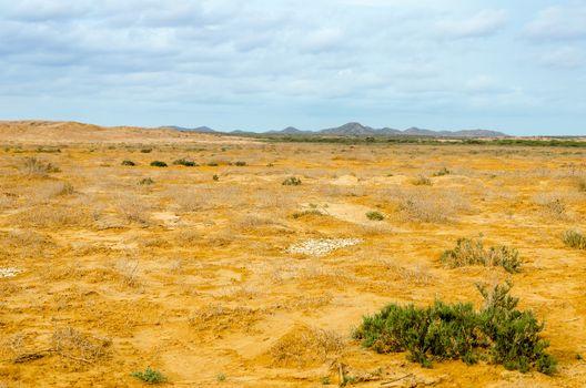 A desert landscape in La Guajira in northern Colombia