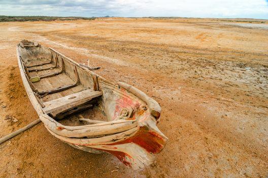 A canoe in the desert region of La Guajira in Colombia