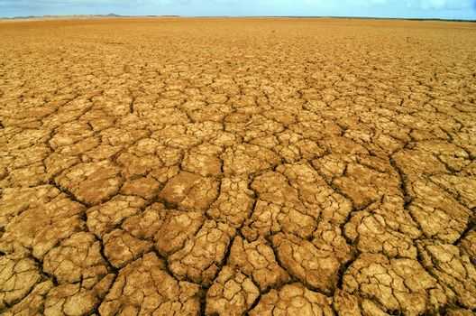 Dry cracked earth in a desert in Colombia