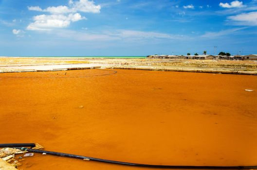Pools for gathering sea salt in the town of Manaure in La Guajira, Colombia