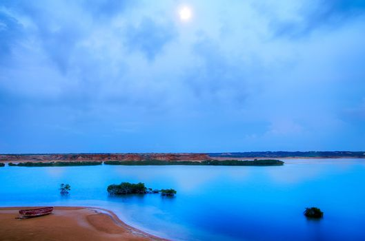 Late evening view of the bay of Punta Gallinas in La Guajira, Colombia