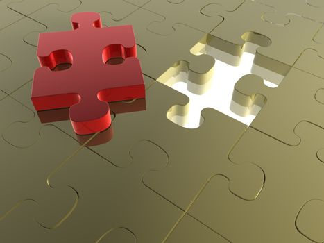 3D render of a Jigsaw Puzzle with a missing piece.