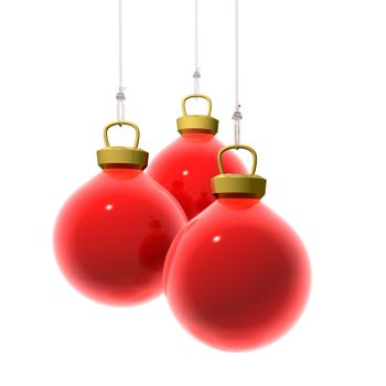 3D Render of three red christmas balls hanging on a transparent wire. White background.
