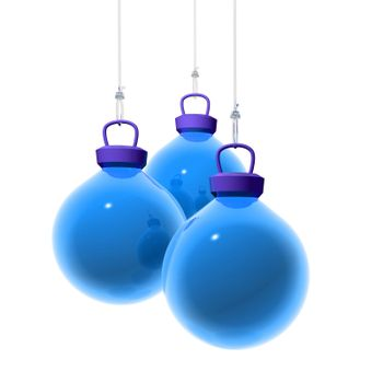3D Render of three blue christmas balls hanging on a transparent wire. White background.