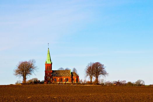 View of a beautiful typical Scandinavian church