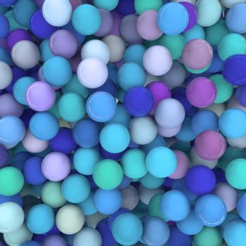 3D Render of a background with hundreds of shiny balls in blue / green / purple tones.