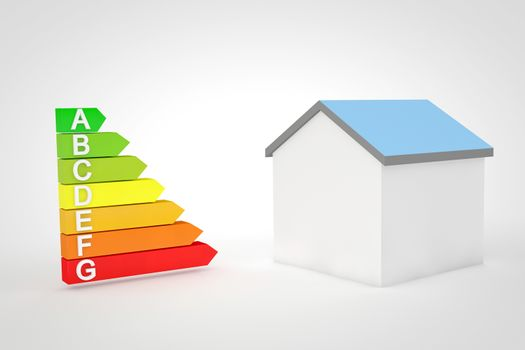 High resolution 3D render of the seven levels for home energetic efficiency on white background.