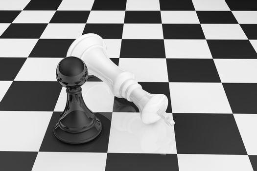 High resolution 3D render of black pawn and white king on chess board.