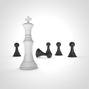 High resolution 3D render of black pawns and white chess king on white background.
