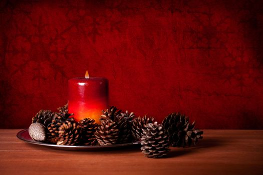 Candle And Pine Cones