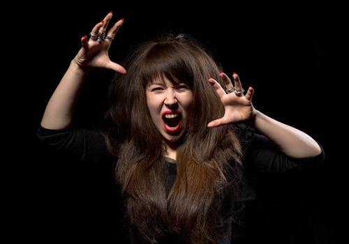 Woman throwing a temper tantrum