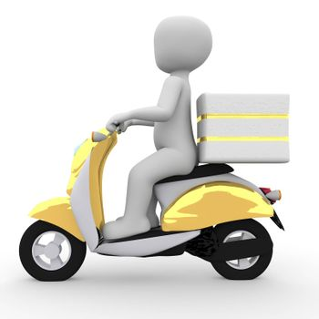 The postman brings the mail with a golden moped.