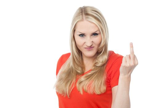 Angry female showing middle finger