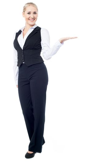 Corporate lady promoting business product