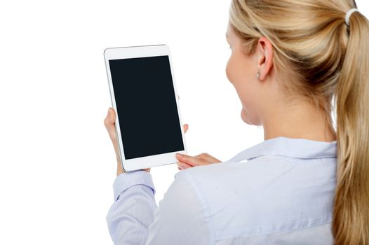 Woman using brand new tablet pc