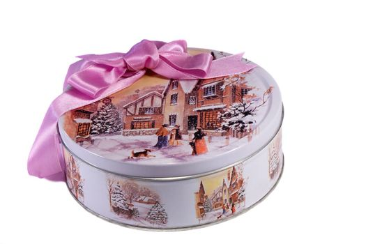 Beautifully painted and decorated with a ribbon box with a present. Presents on a white background.