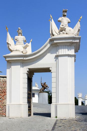 Gate detail of Bratislava castle situated on a plateau 85 metres