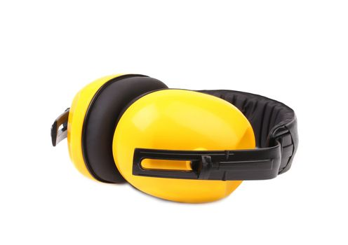 Closeup of protective ear muffs.
