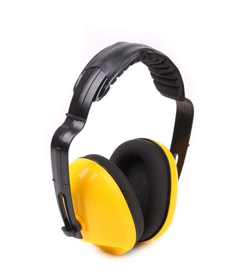 Yellow protective ear muffs.
