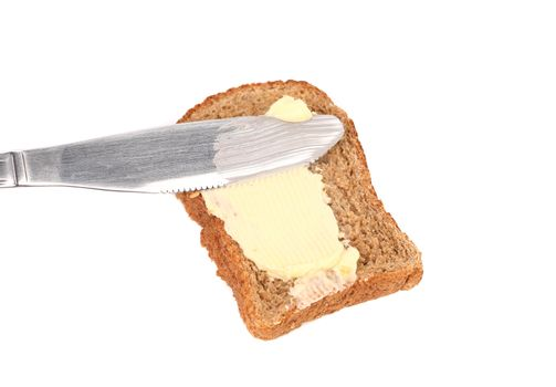 Smear butter on bread the knife.
