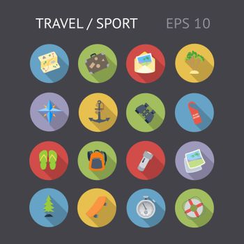 Flat icons for travel and sport. Vector eps10 contains objects with transparency.