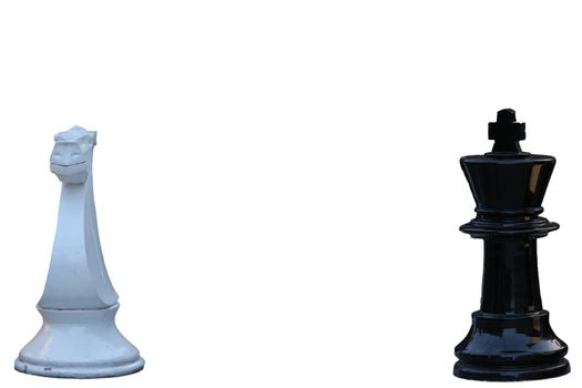 Chess game. black king challenging for victory. Isolated on white background.