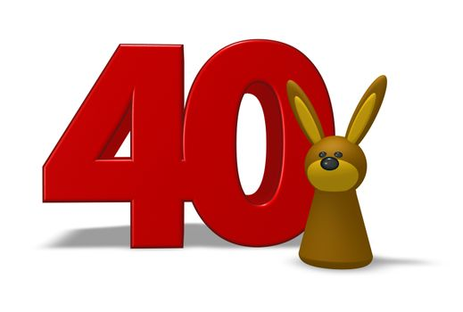 number forty and rabbit - 3d illustration