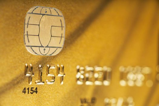 Macro view of credit card with microchip