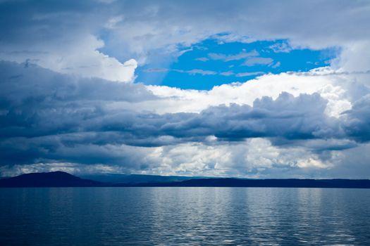 Dramatic sky over lake