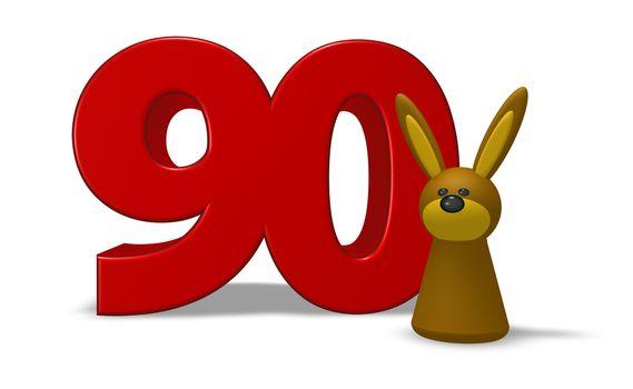 number ninety and rabbit - 3d illustration
