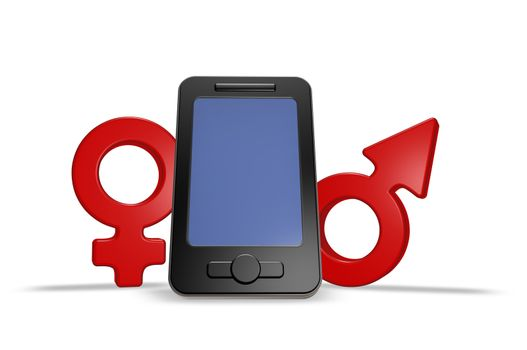 smartphone with male and female symbol - 3d illustration