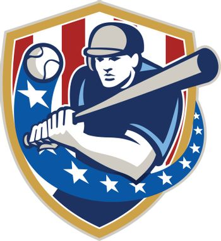 Baseball Hitter Batting Stars Stripes Retro