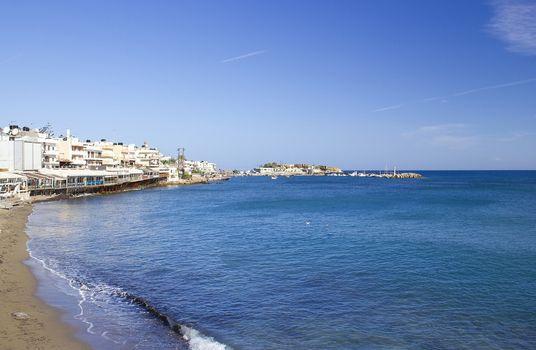 Seashore of Hersonissos, touristic place in Crete