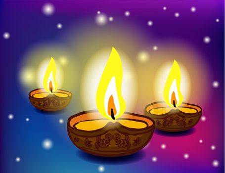 Vector holiday of Diwali oil lamps