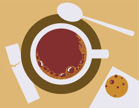 Vector image of a cup of coffee, sugar, spoons and cookies