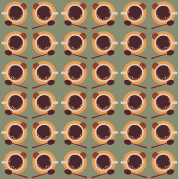 Seamless pattern with cups of coffee