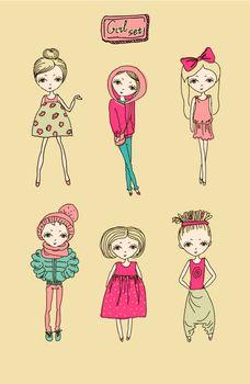 Set of teenage vector girls