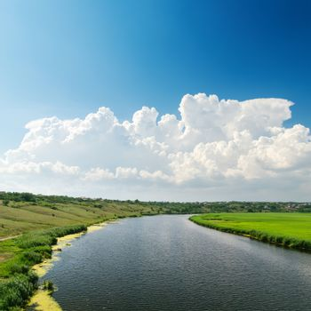 cloudy sky over river with green sides