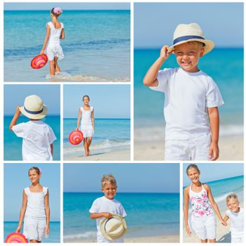 Collage of images smiling cute kids in a sun hat at the tropical beach.