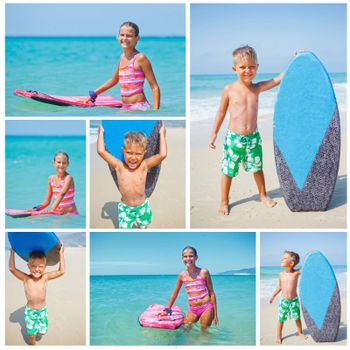 Collage of images little surfers. Cute boy and girl with surfboard standing near ocean.